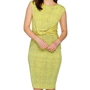 H by Halston Yellow Printed Jersey CapSleeve Dress